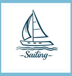 sailing badge with sailboat vector image vector image