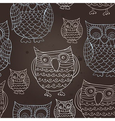 seamless pattern with doodle owls - vector image vector image