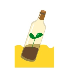 Sprout in the bottle drought ecology vector