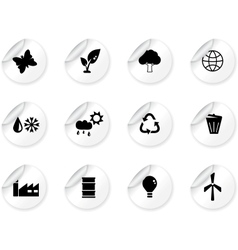Stickers with environment icons vector image