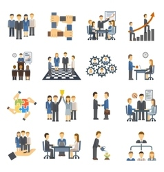 Teamwork icons set group symbol communication vector image
