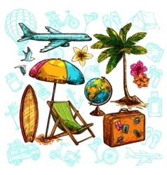 Travel sketch set vector