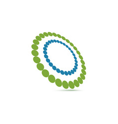 Unusual double ring of small circles logo vector