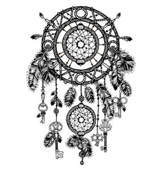 Vintage detailed dreamcatcher with feathers vector
