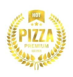 Vintage pizza gold logo stamp vector