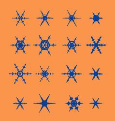 vintage snowflake set 16 original snow vector image vector image