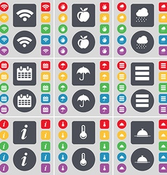 Wi-fi apple cloud calendar umbrella apps vector
