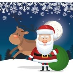 santa claus and bag gift reindeer landscape vector image