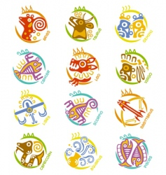 Maya art stylized zodiac signs vector