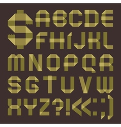 Font from greenish scotch tape - roman alphabet vector