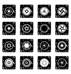 Photo diaphragm icons set vector