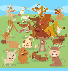 cartoon happy dogs group vector image