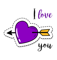 fashion patch element heart with arrow vector image