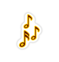 Stylish paper sticker on white background musical vector