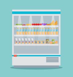 supermarket thermocool refrigerator shelves food vector image