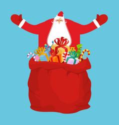 santa and sack of gifts christmas red bag toys vector image