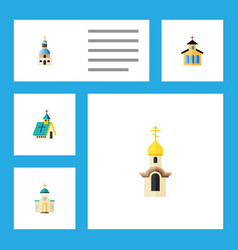 Flat icon building set of structure religious vector
