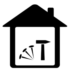 Icon with nails hammer and home vector