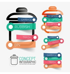 Rubbish bin infographic with stickers vector