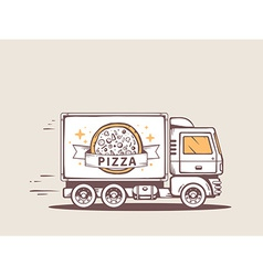 Truck free and fast delivering pizza to c vector