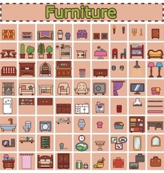 Furniture set for rooms of house game objects vector
