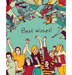 Best wishes happy people color card vector