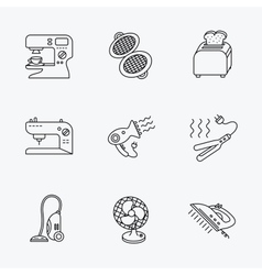 Coffee maker sewing machine and toaster icons vector