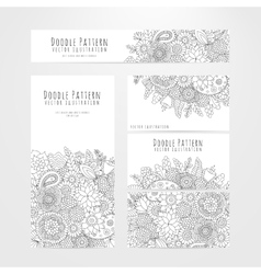 Set flyers cards with floral doodle pattern vector