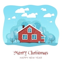 House in winter forest Christmas card background vector image