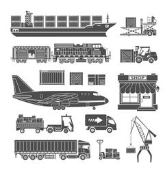 Cargo transport and packaging icon set vector