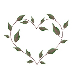 Fresh green leaves in heart shape frame vector