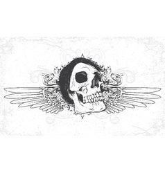 Skull with grunge and wings vector