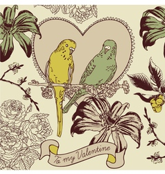 Vintage love birds valentines card vector
