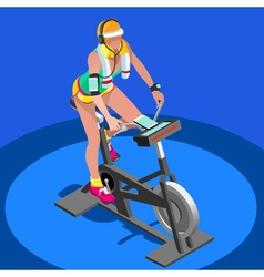 Exercise bike spinning gym class 3d isometric vector