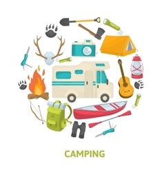 Tourist camping decorative icons set vector