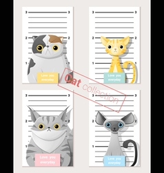 Mugshot of cute cats holding a banner 2 vector