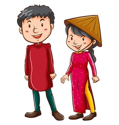 A girl and a boy wearing the Asian costumes vector image vector image