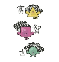 Birds with chinese symbols of wealth wisdom and vector