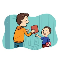 Borrowing A Book vector image vector image