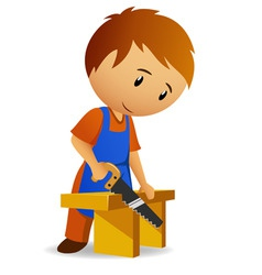 carpenter cutting the wooden panel with handsaw vector image