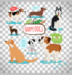 cartoon dogs on transparent background vector image vector image