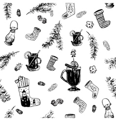 Christmas wine pattern vector image vector image