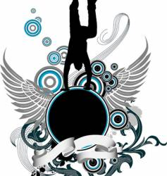 Dancing man and wing banner vector