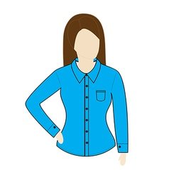 Female shirt template with long sleeves vector
