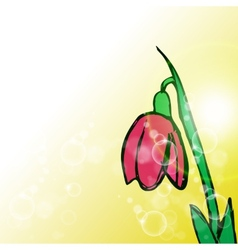 Flower on yellow background with rays vector image vector image