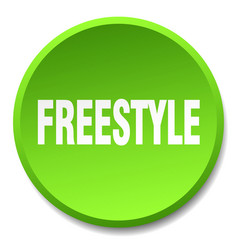 Freestyle green round flat isolated push button vector