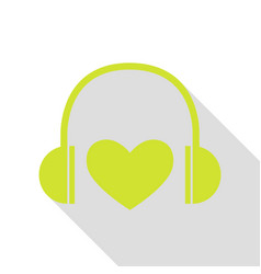 Headphones with heart pear icon with flat style vector