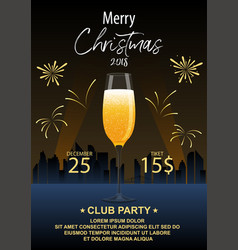 invitation to a christmas party a glass of vector image
