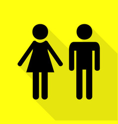 Male and female sign black icon with flat style vector