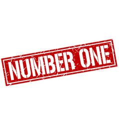 Number one square grunge stamp vector
